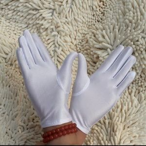 Satin white gloves for bag/jewelry Inspection